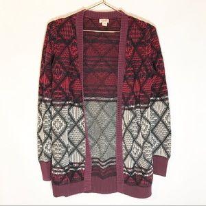 Mossimo Aztec sweater open front cardigan medium